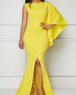 Front Slit One Sleeve Maxi Dress