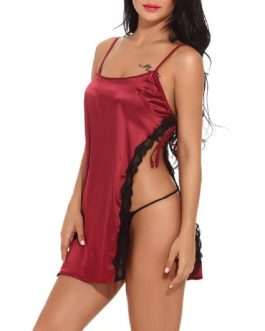 Girl Lingerie Satin Sleepwear Lace Chemise Night Gown