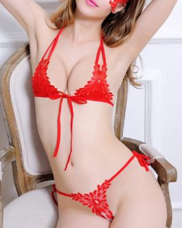 Girl sexy Embroidered string Open Croce Lingerie Bras Sets
