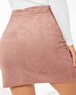 Glamorous Pink Lace Up Detail Flap Pocket Suede Skirt