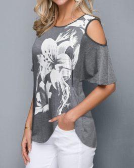 Half Sleeve Cold Shoulder Flower Print Blouse