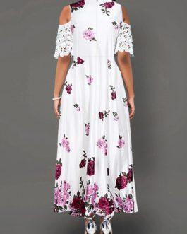 Half Sleeve Cold Shoulder Lace Panel Dress