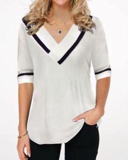 Half Sleeve V Neck Contrast Stripe Blouse