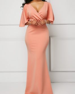 Half Sleeve Wrap V Neck Mermaid Dress
