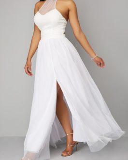 Halter Mesh Panel Double Slit Dress