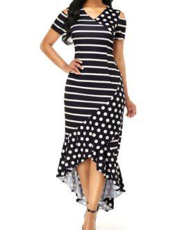 High Low Cold Shoulder Stripe Print Dress