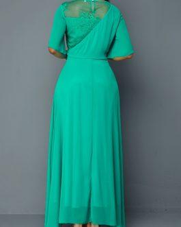 High Waist Half Sleeve Lace Panel Dress