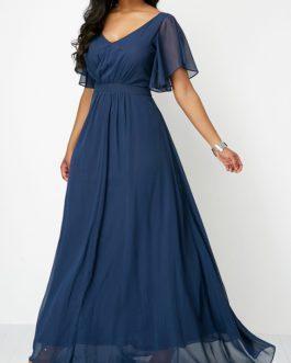 High Waist V Neck Maxi Dress