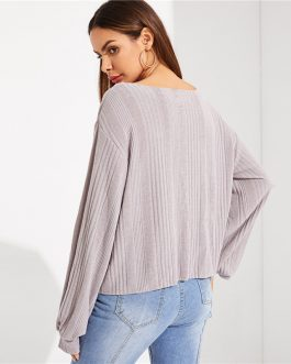 Highstreet Grey V Neck Drop Shoulder Solid Ribbed Plain Long Sleeve Tee