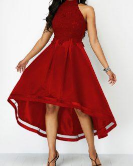 Lace Panel Sleeveless High Low Dress