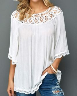 Lace Panel White Three Quarter Sleeve Blouse