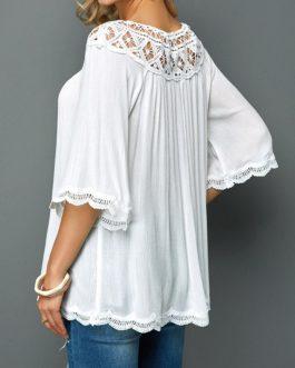Lace Panel White Three Quarter Sleeve Blouse