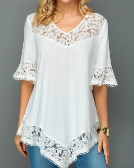 Lace Patchwork Asymmetric Hem Flare Sleeve Blouse