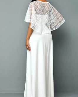 Lace Top and Side Slit Maxi Dress