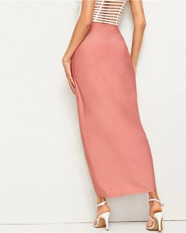 Ladies Pink Draped High Waist Skirt Solid Asymmetrical Wrap