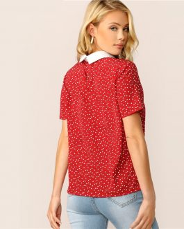 Lady Red Preppy Heart Print Contrast Collar Pearl Beaded T Shirt