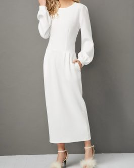 Lantern Sleeve Pocket Maxi Dress