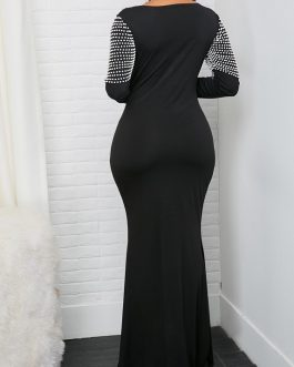 Long Sleeve Faux Pearl Embellished Maxi Dress