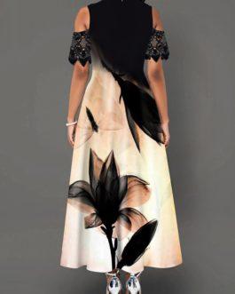 Lotus Print Cold Shoulder Lace Panel Maxi Dress