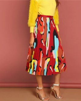 Multicolor Graphic Print Pleated High Waist Straight Long Skirt