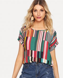 Multi color Mix Striped Print Rolled Up T shirt