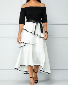 Off the Shoulder Zipper Back High Waist Dress