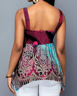 Open Back Sleeveless Asymmetric Hem Printed Blouse