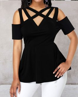 Peplum Waist Cold Shoulder Black Blouse