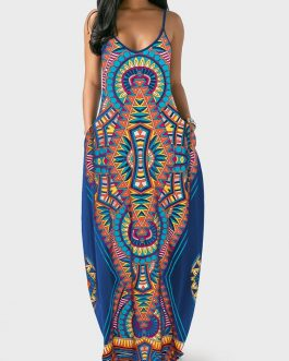 Plunging Neck Spaghetti Strap Printed Dress