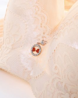 Plus Size Lace Embroidery Removable Padded Memory Metal Wire Bra