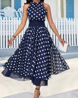 Polka Dot Print Keyhole Back Sleeveless Dress