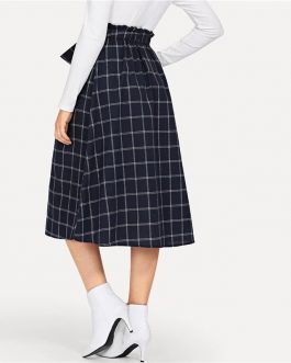 Preppy Button Detail Grid Flare Navy Skirt