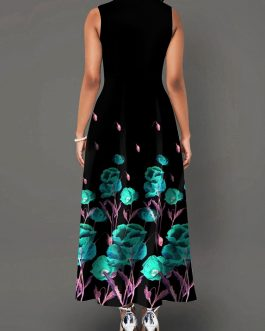 Printed High Waist Sleeveless Dress