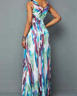 Printed V Neck Sleeveless Maxi Dress