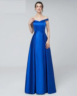 Reflective Satin Long Sexy Off the Shoulder Prom Party Gowns