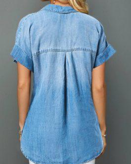 Roll Cuff Button Front Denim Shirt