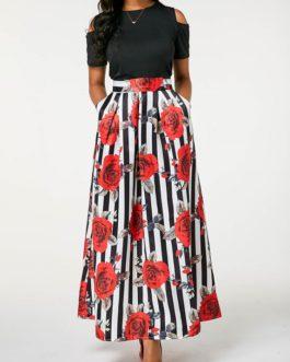 Rose Print Cold Shoulder Maxi Dress