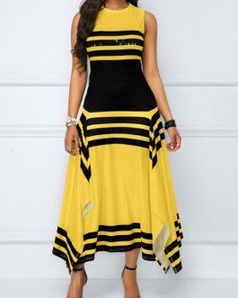 Round Neck Asymmetric Hem Striped Maxi Dress
