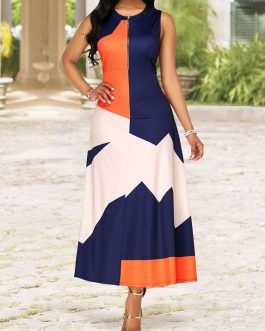 Round Neck Color Block Quarter Zip Dress