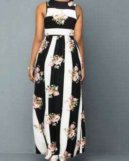 Round Neck Floral Print Sleeveless Maxi Dress