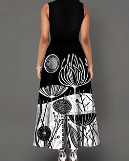 Round Neck Printed Sleeveless Dress