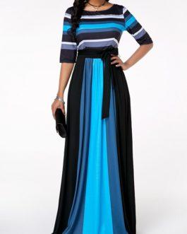 Round Neck Stripe Print Belted Maxi Dress