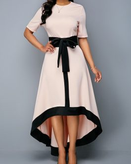 Round Neck Zipper Back Belted High Low Dress