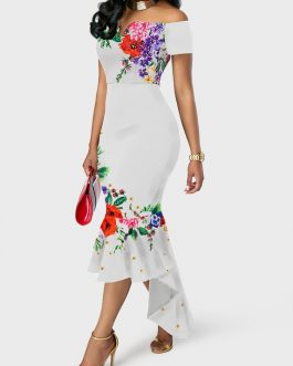 Ruffle Hem Flower Print Off the Shoulder Dress