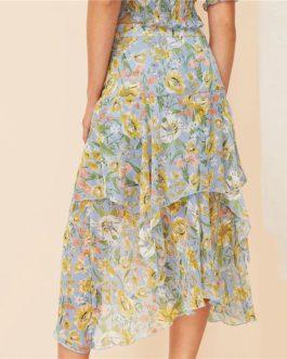Boho Allover Botanical Print Layered Asymmetrical Skirt