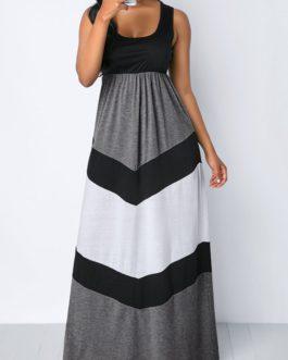 Scoop Neck Color Block High Waist Maxi Dress