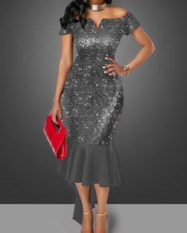 Sequin Embellished Off the Shoulder Sheath Dress