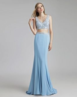 Sexy 2 Pieces Mermaid Light Prom Party Dress Women Pageant Gown