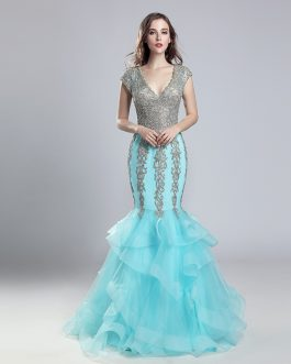 Sexy Long Lace Tulle V-Neck Cap Sleeve with Ruffles Prom Party Gowns