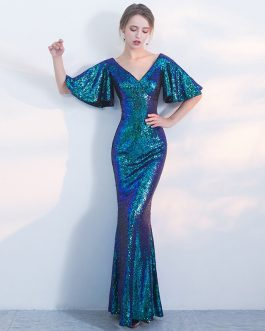 Shining Mermaid Sexy V-Neck Half Sleeve Maxi Prom Party Gowns